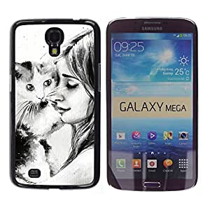 Stuss Case / Funda Carcasa protectora - Cat Girl Friendshp Animal Drawing Pencil - Samsung Galaxy Mega 6.3 I9200 SGH-i527