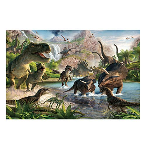 Libaoge Animal World Aquarium Background Double Sides, Dinosaur Party Fish Tank Decor Sticker Wallpaper Vinyl Photo Adhesive Paper Poster Backdrop, 48.8