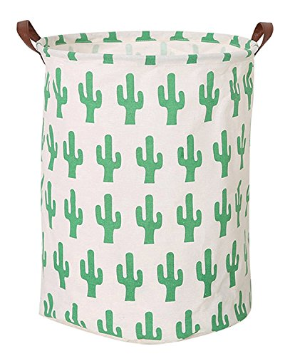 Large Collapsible Round Storage Bin/Cactus Storage Basket/Clothes Laundry Hamper/Toy Books Holder (Cactus)]()