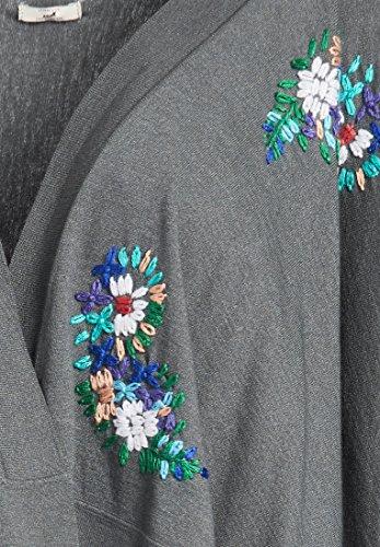 Mujer Cárdigan Manga Oscuro 4 3 Gris Floral Khujo Para qP4zaa