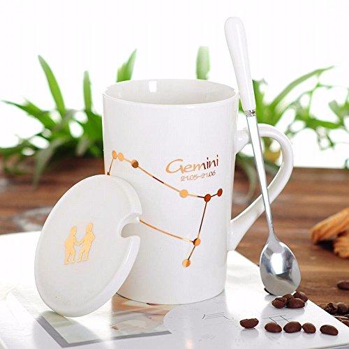 WU-Mug Creative 12 Constellation Cup Ceramic mug of water bowl with lid spoon bone china couples coffee cup tea cup, the Gemini Cup