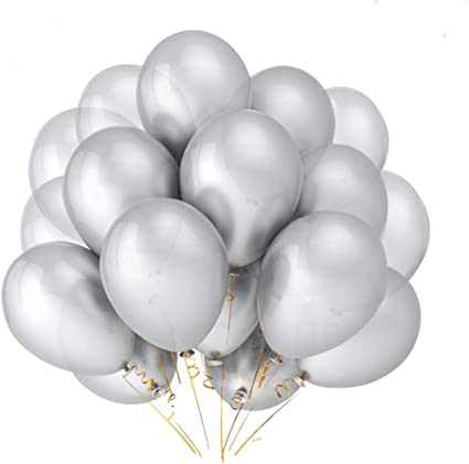 HoveBeaty Silver Balloons Chrome Shiny Metallic Latex 12 Inch Thicken Balloons 50 Pack for Wedding Party Baby Shower Christmas Birthday Carnival Party Decoration Supplies