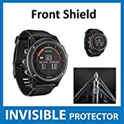 Garmin Fenix 3 HR GPS Watch Front INVISIBLE Screen Protector (Front Shield Included) - Military Grade Protection Exclusive to ACE CASE (HR Version)
