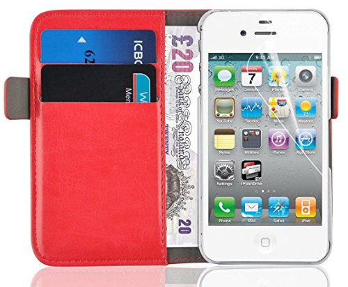 ry Edition Leather Wallet Cover for iPhone 4 4s, Red ()