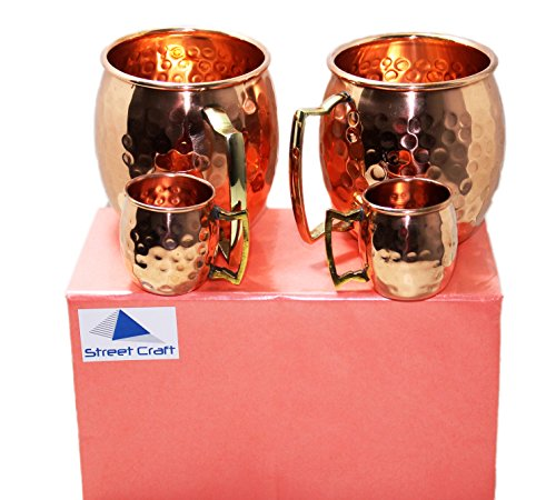 STREET CRAFT Gift Packed Handcrafted 100% Pure Hammered Copper Authentic Solid Copper Unlined Mug Cup Capacity 16 Oz Cups with Led free Handle Set of 2 with Free 2 Short Mug