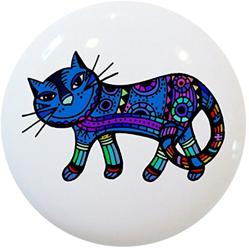 Carolina Hardware and Decor 2414 Blue Abstract Cat Ceramic Cabinet Drawer Knob