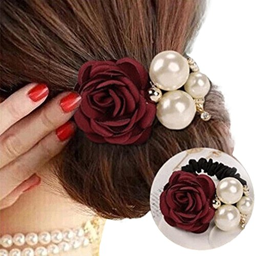 Hair Clip,SMTSMT 2017 Women Satin Ribbon Rose Flower Pearls Hairband Ponytail Holder Hair Band (Red)