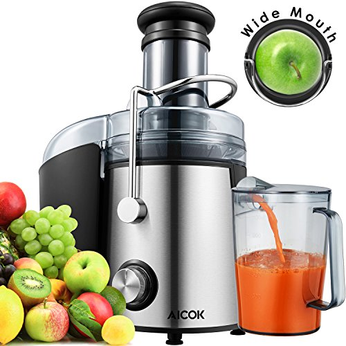 Juicer 1000 Watt [2018 Upgrade] Aicok Wide Mouth 76MM Juice Extractor Centrifugal Juicer Machine Whole Fruit and Vegetable Juicer with Juice Jug and Cleaning Brush,Anti-drip Function (Top Steel Removable Mesh)