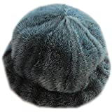 MH Bailment Women's Winter Fur Bucket Hat with Real Mink Fur Thick Stripes Hats (M, Dark Green)