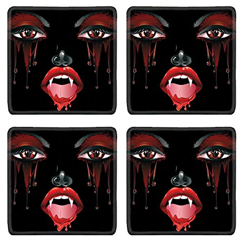 Female Vampire Makeup (Luxlady Natural Rubber Square Coasters IMAGE ID: 37120024 Abstract female vampire face with festival eye makeup and red lips)