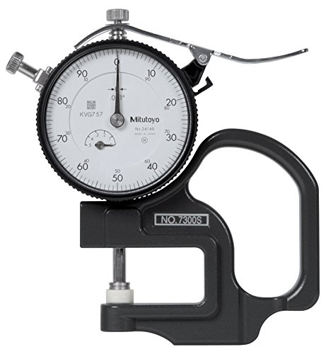 Mitutoyo 7300S Dial Thickness Gauge, Inch, Flat Anvil, Standard Type, 0-0.5