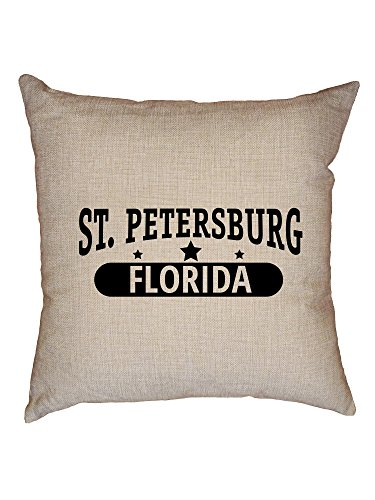 (Hollywood Thread Trendy St. Petersburg, Florida with Stars Decorative Linen Throw Cushion Pillow Case with Insert)