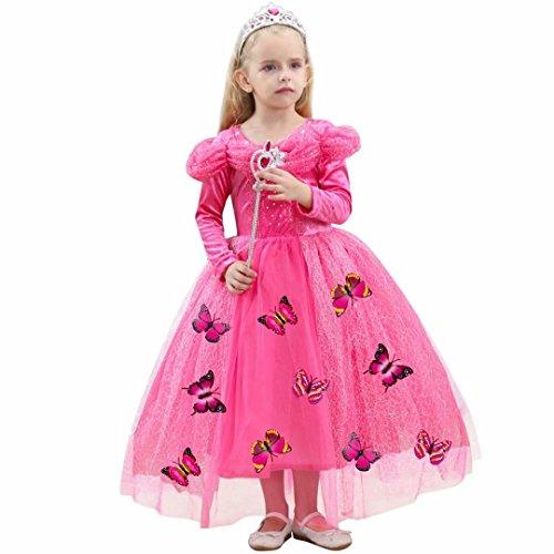 Little Girls Long Sleeve Princess Cinderella Aurora Costume Halloween Party Dress -