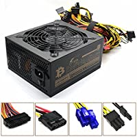 1600W Power Supply for Mining,C CLTEIN Above 90% High Efficiency Switching Power Supply Gold for 6 GPU Bitcoin Ethereum S9 S7 L3 Rig Mining (Full Voltage 80-240V 1600W)