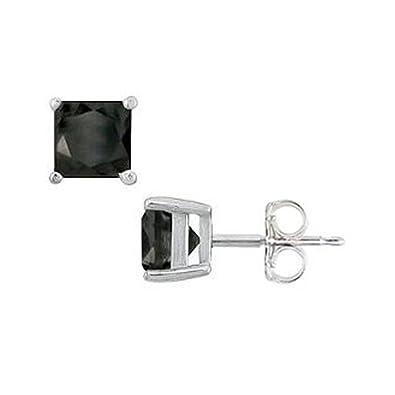 779ef7056 Amazon.com: TriJewels Black Diamond Princess Cut Stud Earrings 2.00 ctw in 14K  White Gold: Jewelry