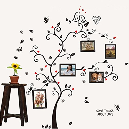 Amaonm Wall Stickers Wall Decals Trees Photo Frame Butterfly Birds and Removable Wall Decor Decorative Painting Supplies & Wall Treatments Stickers for Girls Kids Living Room Bedroom Wallpops