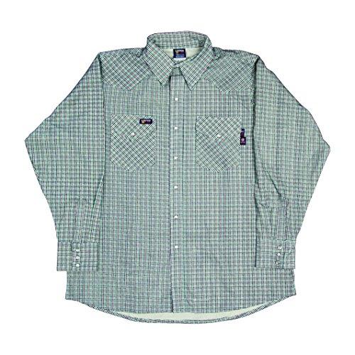 Lapco FR IAU7WS-SM REG FR Western Plaid Shirts, Flame-Resistant Cotton Twill with Moisture Management Finish, 7 oz., small Regular, Austin - Austin Finish