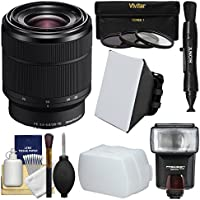 Sony Alpha E-Mount FE 28-70mm f/3.5-5.6 OSS Zoom Lens with Flash + Soft Box + Diffuser + 3 Filters Kit for A7, A7R, A7S Mark II Cameras