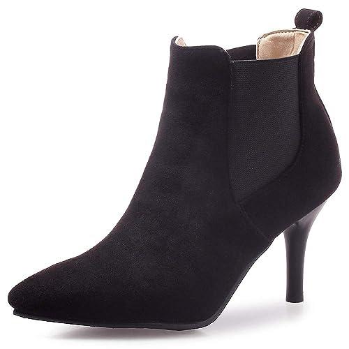 Botines de Invierno para Mujer Tallas Grandes Talones de Chelsea Talón de Pelusa Negro Tamaño 39.5 EU: Amazon.es: Zapatos y complementos