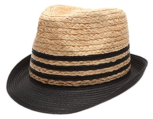 Striped Straw Hat (Summer Trilby Short Brim Sun Straw Fedora Hat Cap with Color Striped.(Black))