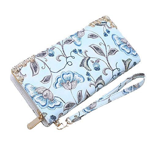 Lcsweet Women Simple Print Embroidered Wallet Long Zipper Bag Large Capacity Mobile Phone Bag Wild Clutch Bag (Sky Sea) ()