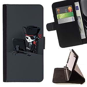 For Samsung Galaxy Note 4 IV Case , Cráneo del pirata Arte Hacker Loro Negro- la tarjeta de Crédito Slots PU Funda de cuero Monedero caso cubierta de piel