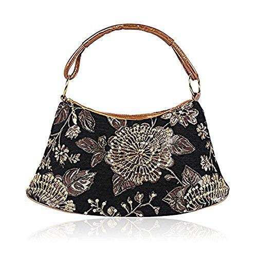 2018 Spring Flower Embroidery Shoulder Bag India Style Handbag Leather Flannel Handbag Flower Tote Bag - Women For India