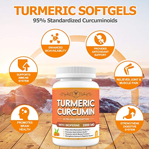 (2 Pack) Turmeric Curcumin Ginger Softgels with Black Pepper 95% Curcuminoids 2000mg for Highest Potency & Better Absorption - Premium Joint, Immune Health & Anti-Inflammatory Supplements