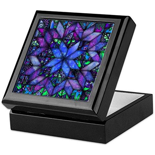 CafePress - Blue Quilt - Keepsake Box, Finished Hardwood Jewelry Box, Velvet Lined Memento Box