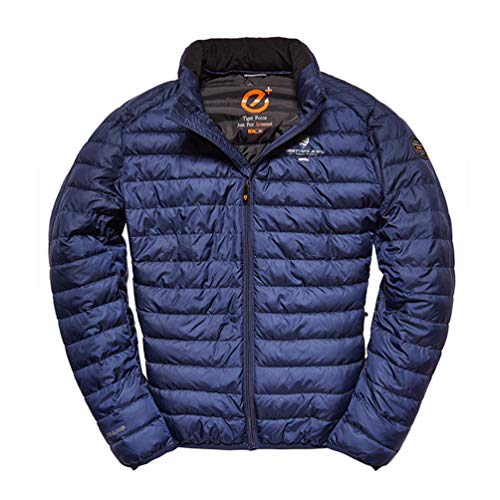 (TIGER FORCE Mens Cotton Lightweight Jacket Active Coat Hidden Hood Quilted Puffer Softshell Stand Collar Bomber Outerwear Blue)