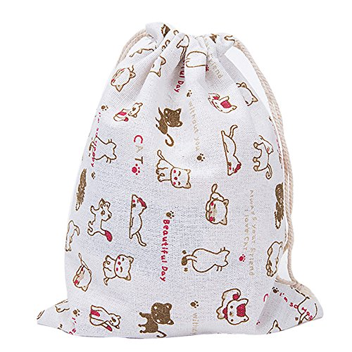 Clearance!KingWo Cotton Fabric Fashion Unisex Backpacks Flowers Leaves Cats Printing Bags,Drawstring Backpack 3 Sizes (Red, L) by KingWo (Image #1)
