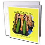 3dRose Sandy Mertens Food Designs - Zucchini Size Matters - 6 Greeting Cards with envelopes (gc_6237_1)