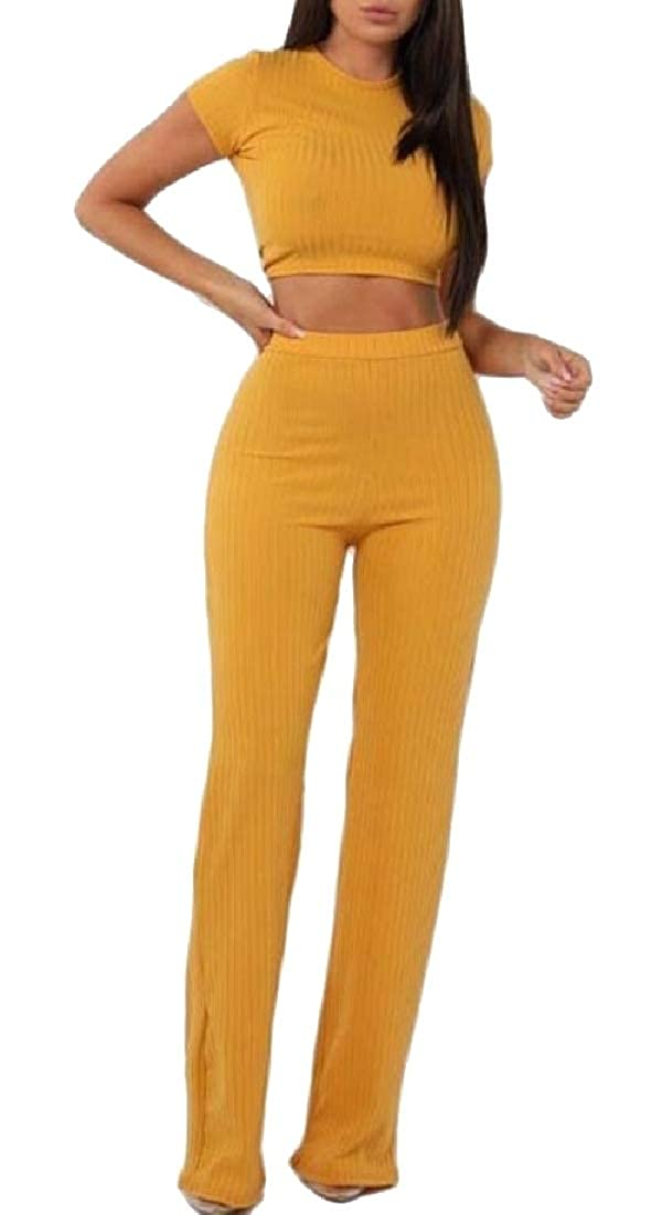 WSPLYSPJY Women Short Sleeve 2 Piece Outfits Bodycon Crop Tops Long Pants Jumpers Set