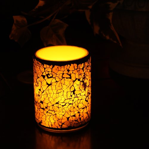 Mosaic Flameless LED Candle with Timer, 3 x 4