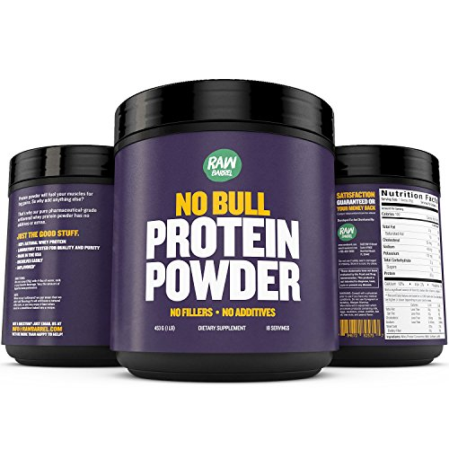 Raw Barrel's - Pure Natural Whey Protein Powder - Unflavored - SEE RESULTS OR YOUR MONEY BACK - 2lb - Instantized Concentrate Supplement - High Protein, Low Carb - With Free Digital Guide And Recipes