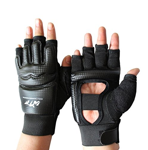Mixed Martial Arts Fighting Gloves (Lorsoul Taekwondo Gloves WTF Training Martial Arts Boxing Sparring TKD Punch Bag Mitts MMA Grappling Karate Fighting Gym Gear PU Leather Wrist Wraps Gloves for Men Women Kids (X-Small, Black))