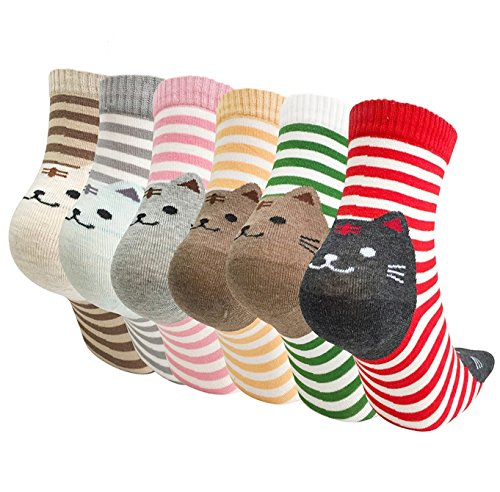 Fendou Women's Cute Animal Socks Design Funny and Cool Cotton Art Printed Casual Crew (Shoe Size 5-11, 6-Pack/Cat)