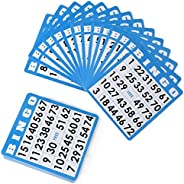 50-Pack Blue Bingo Cards with Unique Numbers on Every Card - Family Bingo Game Accessories - Classic Classroom