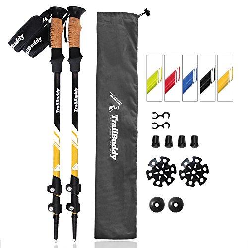 TrailBuddy Hiking Sticks - 2-pc Pack Adjustable Walking or Trekking Poles - Strong, Lightweight Aluminum 7075 - Quick Adjust Flip-lock - Cork Grip, Padded Strap - (Bumblebee Yellow) (Trekking Light)