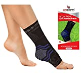 Ankle Brace, Lifehapps Active Relief Compression Sleeve with Gel Pads for men, women, kids, Sock Aids in Recovery and Support of Sprained ankle, Plantar Fasciitis, Heel Spurs, Achilles Tendon, Joint P