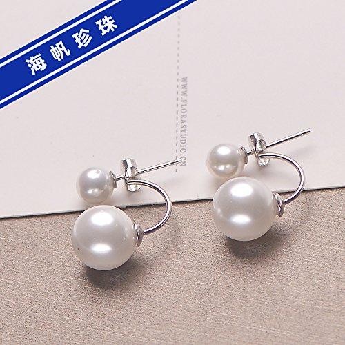 usongs 925 sterling silver mother pearl earrings pearl jewelry That Winter Song Hye Kyo with money ear shell bead earrings