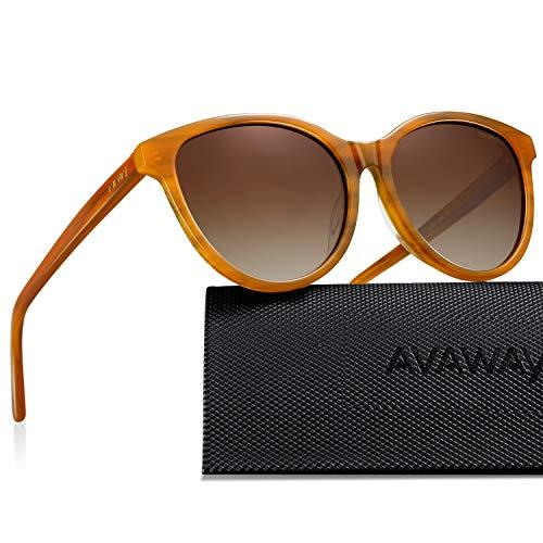AVAWAY Vintage Polarized Sunglasses for Women UV Protection Stylish Acetate Frame ()