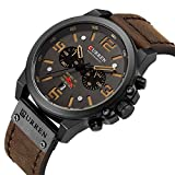 Military Watches for Men Men's Leather Strap Analog Quartz Wristwatch Fashion Sport Watch for Men Chronograph Date Brown Black CAOWTAN