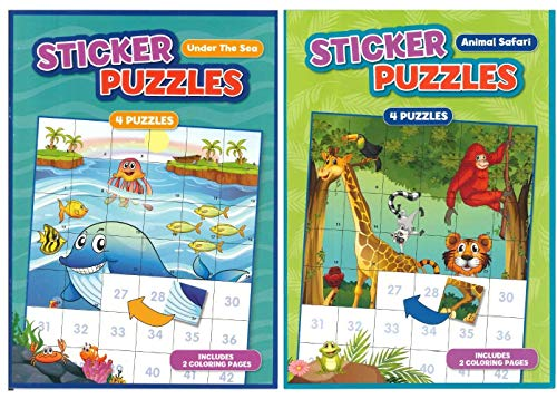 Activity Books for Kids: Sticker Puzzles Animal Safari & Under the Sea. 2 PACK