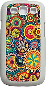 Flower Circles Pattern - Case for the Samsung Galaxy S III-S3- Soft White Rubber Snap On Case with a Swinging Flap