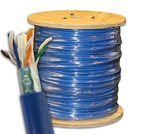 trueCABLE Shielded Cat5E, 500ft, Blue, Riser (CMR), 24AWG, Overall Foil Shield (FTP), Bulk Ethernet Cable, Solid Bare Copper, 350 MHz, ETL Listed