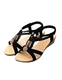 Willsa Summer Women's Casual Peep-toe Wedge Heel Flat Buckle Shoes Roman Sandals