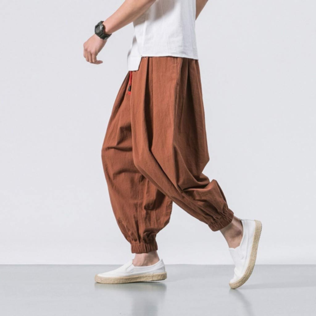 Sunyastor Men's Cotton Harem Yoga Baggy Boho Pants Casual Pants Drawstring Loose Fit Harem Pants Wide-Legged Pants Coffee by Sunyastor men pants (Image #2)