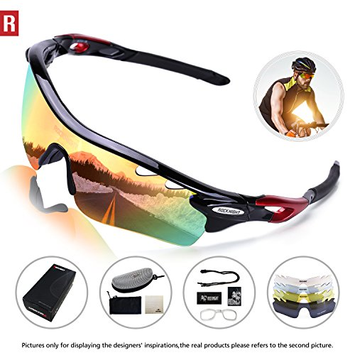 b1540e630f ROCKNIGHT Polarized Sports Sunglasses for Men Women with 5 Interchangeable Lenses  Cycling Running Driving Baseball Glasses