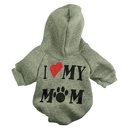 Haogo Pet Puppy Sweater I Love My Mom Printed Hooded Sweatshirt for Small Dog Pet Grey S